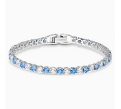 Bracelet Tennis Deluxe, bleu, métal rhodié Swarovski 5536469