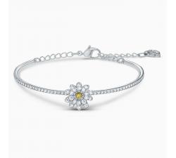 Bracelet-jonc Eternal Flower, jaune, finition mix de métal Swarovski 5542012
