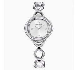 Montre Crystal Flower, bracelet en métal, ton argenté, acier inoxydable Swarovski 5547622