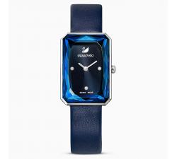 Montre Uptown, bracelet en cuir, bleu, acier inoxydable Swarovski 5547713