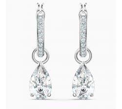 Boucles d'oreilles Créoles Attract Pear Mini, blanc, métal rhodié Swarovski 5563119
