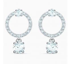 Boucles d'oreilles Attract Circle, blanc, métal rhodié Swarovski 5563278