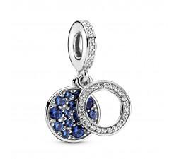 Charm Pendentif Double Disque Bleu Scintillant en Argent 925/1000 PANDORA 799186C01