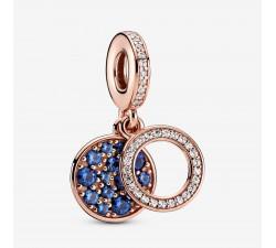 Charm Pendant Double Disque Bleu Scintillant Pandora rose 789186C01