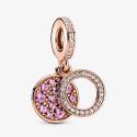 Charm Pendant Double Disque Rose Scintillant Pandora rose 789186C02