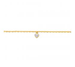 Chevillère plaqué or jaune, coeur et oxydes de zirconium by Stauffer