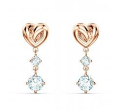 Boucles d'oreilles Lifelong Heart, blanc, métal doré rose Swarovski 5517942