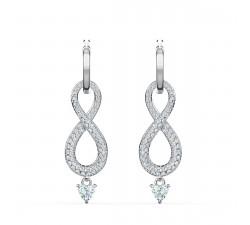 Boucles d'oreilles Swarovski Infinity, blanc, métal rhodié Swarovski 5520578