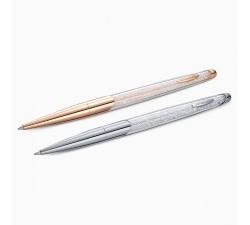 Parure stylo à bille Crystalline Nova, blanc, finition mix de métal Swarovski 5568760