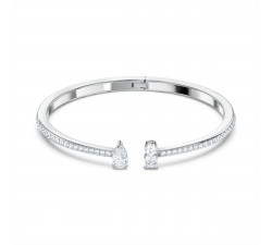 Bracelet Manchette Attract, blanc, métal rhodié Swarovski 5572667
