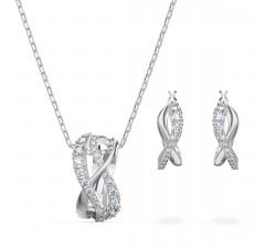 Parure collier et boucles d'oreilles Twist, blanc, métal rhodié Swarovski 5579790