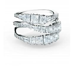 Bague Twist Wrap, blanc, métal rhodié Swarovski 5580952