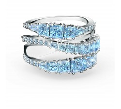 Bague Twist Wrap, bleu, métal rhodié Swarovski 5582809