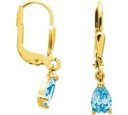 Boucles d'oreilles or jaune 375/1000 et topaze bleue by Stauffer