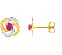 Boucles d'oreilles or bicolore 375/1000 et rubis by Stauffer