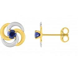 Boucles d'oreilles or bicolore 375/1000 et saphirs bleus by Stauffer