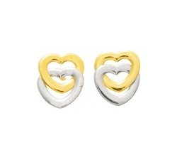 Boucles d'oreilles or bicolore 375/1000, coeurs by Stauffer