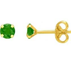 Boucles d'oreilles or jaune 375/1000, émeraude by Stauffer