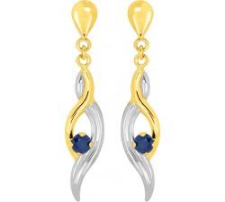 Boucles d'oreilles or jaune et rhodium 375/1000, saphir bleu by Stauffer