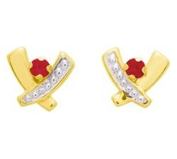 Boucles d'oreilles or jaune et rhodium 375/1000, rubis by Stauffer