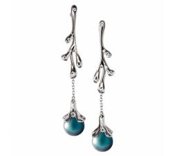 Boucles d'oreilles pendantes corail argent 925/1000 et perle de Tahiti et diamants IZA B FEZ16E002HP