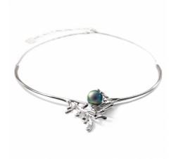 Collier jonc corail argent 925/1000 et perle de Tahiti et diamants IZA B FEZ16N002HP