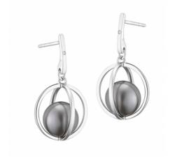 Boucles d'oreilles pendantes ondine argent 925/1000 et perle de Tahiti et diamants IZA B FEZ17E015HP