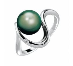 Bague Lagune argent 925/1000 et perle de Tahiti et diamant IZA B FEZ18R002HP