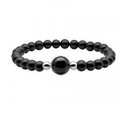 Bracelet élastique - billes onyx 6mm - cabochon acier et onyx 11mm - IG 324