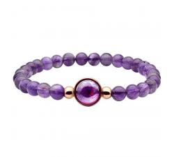 Bracelet élastique - billes améthyste 6mm - cabochon acier rosé et améthyste 11mm YOLA - IG 327