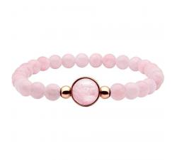 Bracelet élastique - billes quartz rose 6mm - cabochon acier rosé et quartz rose 11mm YOLA - IG 329