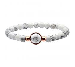 Bracelet élastique - billes howlite blanche 6mm - cabochon acier rosé et howlite 11mm YOLA - IG 331