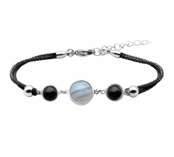 Bracelet en acier et coton noir - cabochon onyx - agate blue lace - onyx - diamètre 8, 11 et 8mm YOLA - IG 360