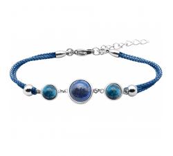 Bracelet en acier et coton bleu - cabochon apatite - lapis - apatite - diamètre 8, 11 et 8mm YOLA - IG 361