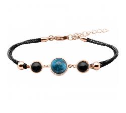 Bracelet en acier rosé et coton noir - cabochon onyx - apatite - onyx - diamètre 8, 11 et 8mm YOLA - IG 362