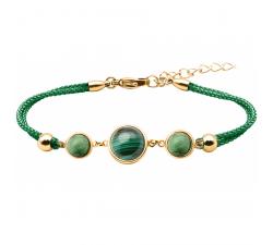 Bracelet en acier doré et coton vert - cabochon zoïsite - malachite - zoïsite - diamètre 8, 11 et 8mm YOLA - IG 363