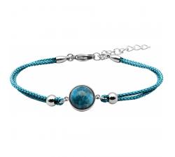 Bracelet en acier et coton bleu - cabochon apatite - 11mm YOLA - IG 370