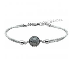 Bracelet en acier et coton gris - cabochon jaspe sesame - 11mm YOLA - IG 371