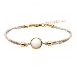 Bracelet en acier doré et coton gris - cabochon nacre blanche - 11mm YOLA - IG 372