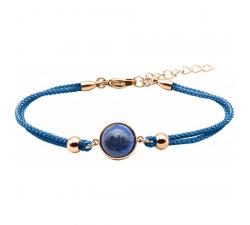 Bracelet en acier rosé et coton bleu foncé - cabochon lapis - 11mm YOLA - IG 373