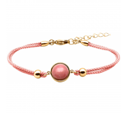 Bracelet en acier doré et coton rose - cabochon rhodonite - 11mm YOLA - IG 374