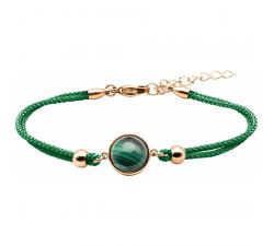Bracelet en acier rosé et coton vert - cabochon malachite - 11mm YOLA - IG 376