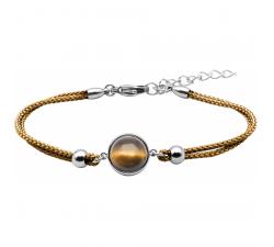Bracelet en acier et coton marron - cabochon œil de tigre - 11mm YOLA - IG 377