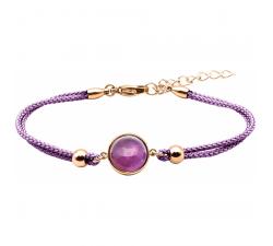 Bracelet en acier rosé et coton violet - cabochon améthyste - 11mm YOLA - IG 378