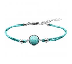 Bracelet en acier et coton vert clair - cabochon amazonite YOLA - IG 379