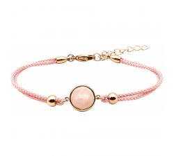 Bracelet en acier rosé et coton rose - cabochon quartz rose 11mm YOLA - IG 380