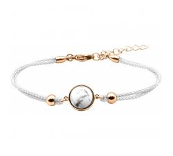 Bracelet en acier rosé et coton blanc - cabochon howlite 11mm YOLA - IG 382