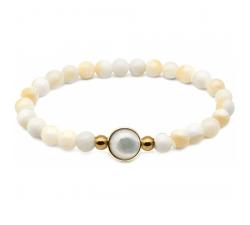 Bracelet élastique - billes nacre blanche 6mm - cabochon acier doré et nacre blanche 11mm YOLA - IG 385