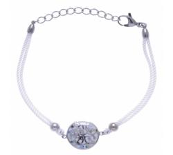 Bracelet acier - arbre de vie - nacre - émail - coton blanc ODENA - IM 347