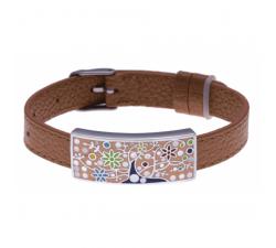 Bracelet acier - arbre de vie - émail - nacre - cuir marron ODENA - IM 354